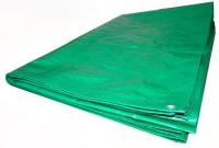 """Тент """"Тарпаулин"""" укрывочный 4x6 м с люверсами (90 г/м.кв, зеленый/серебристый)"""