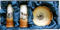 """Подарочный набор из керамики""""2 рюмки+пепельница"""" с изображениями животных арт.350"""