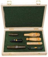 Набор манков в деревянной коробке Hubertus (на утку, утку/ворону, сову, косулю) 7 шт. в комплекте