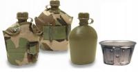 Армейская фляга (пластик) с алюминиевым котелком в чехле (мультикам)